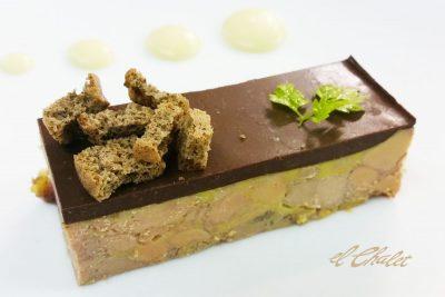 Terrina de foie de pato, cacao, ron y café