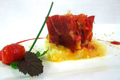 Milhojas de Jamón de Teruel con verduras