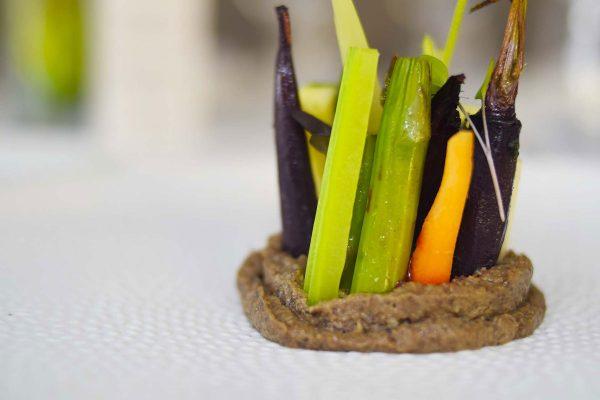 Hortalizas, raíces y tubérculos, royal de queso y champiñón